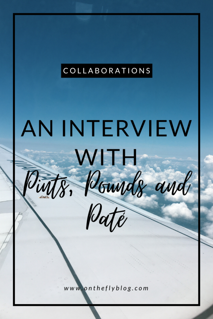 "pin image of a plane wing with the title ""an interview with pints, pounds and pate"""