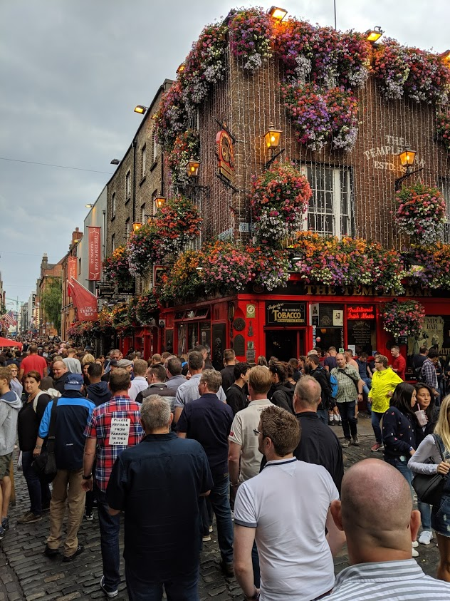 An image of the Temple bar in Dublin from the Travel North East South West blog