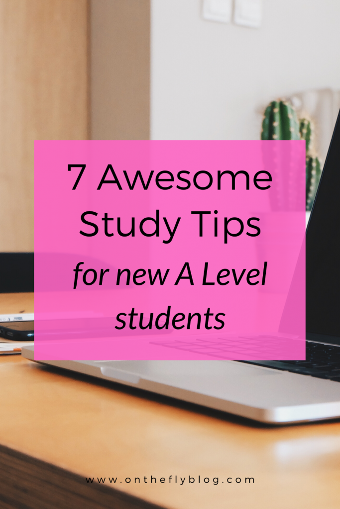 """pin image of a laptop with the post title """"7 awesome study tips for new a level students"""""""