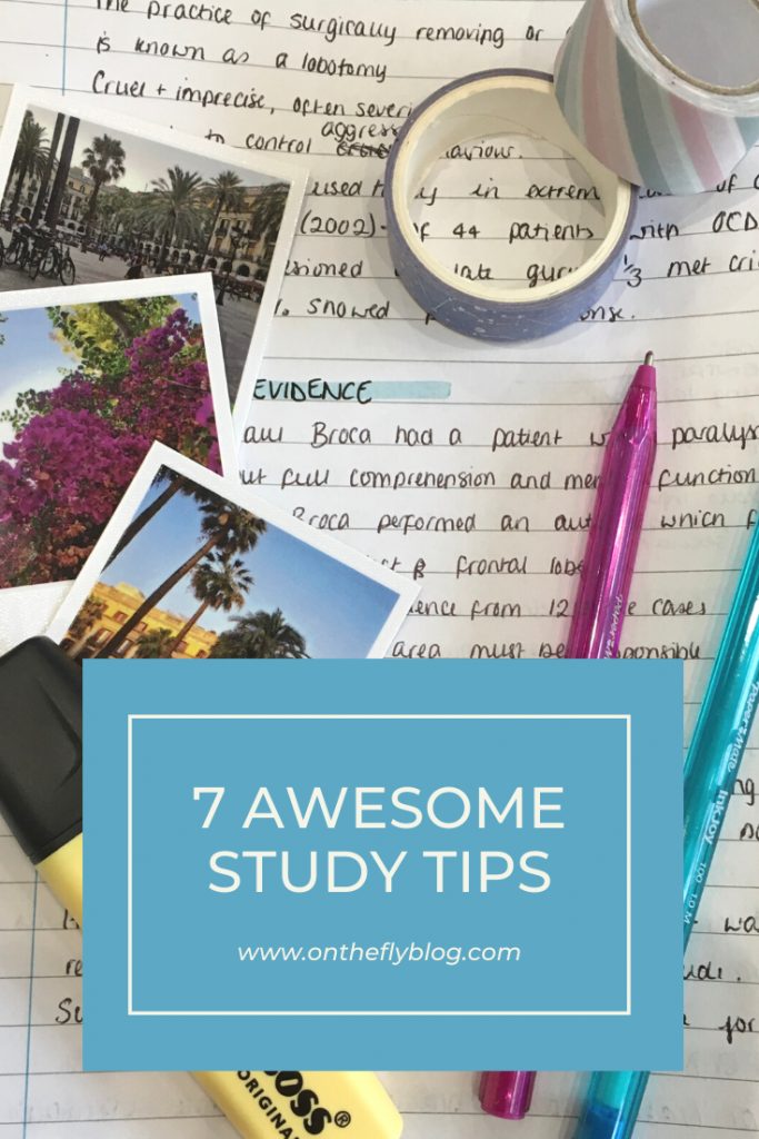 """pin image of school notes with the title """"7 awesome study tips"""""""