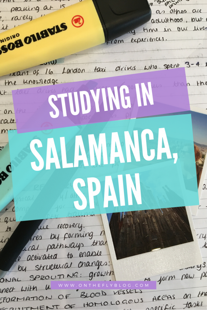 Pin image of educational notes, starionery and polaroid pictures in Salamanca overlayed with the post title