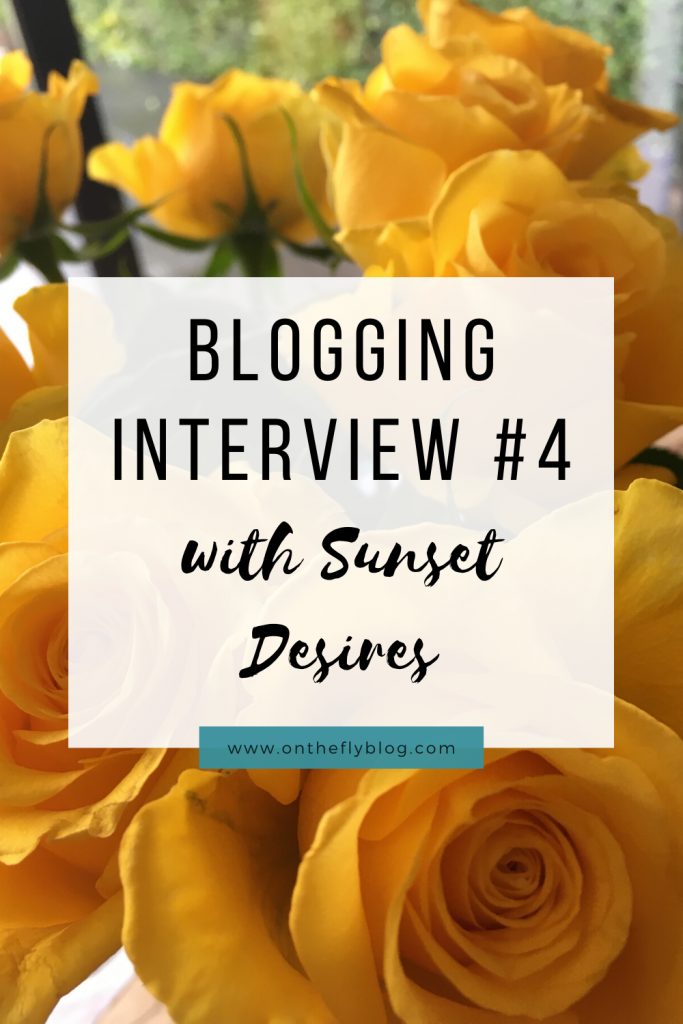 "pin image of a sunset with the title ""blogging interview #4 sunset desires"""