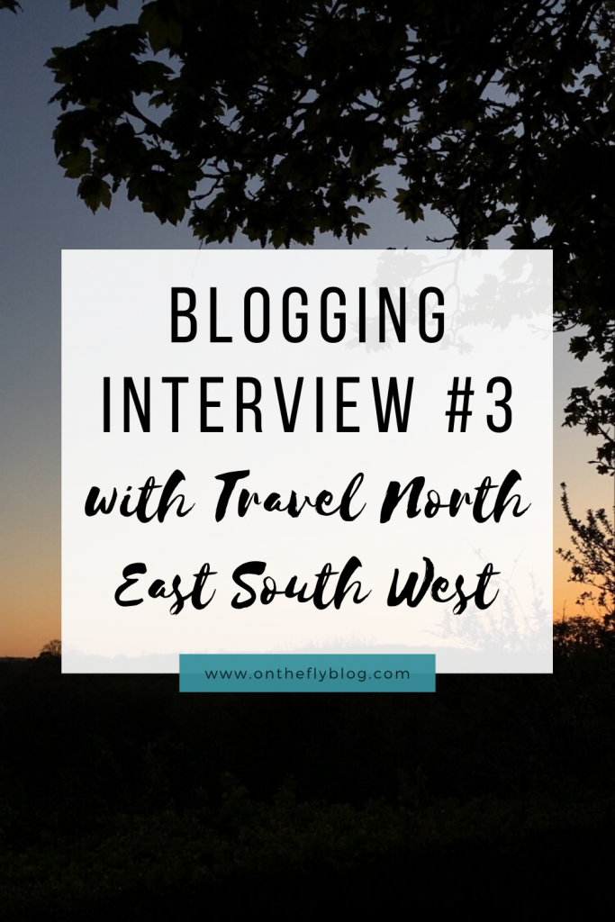 "pin image of a sunset with the title ""blogging interview #3 Travel North East South West"""