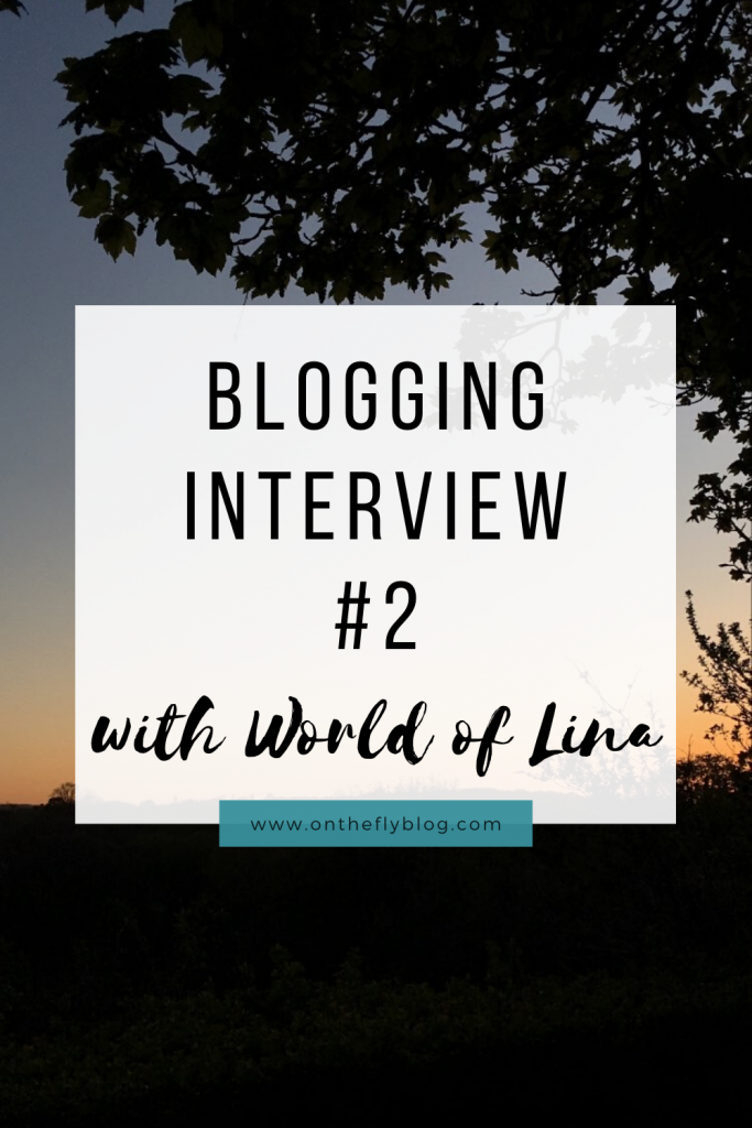 "a pin image of a sunset with the title ""Blogging Interview #2 with World of Lina"""