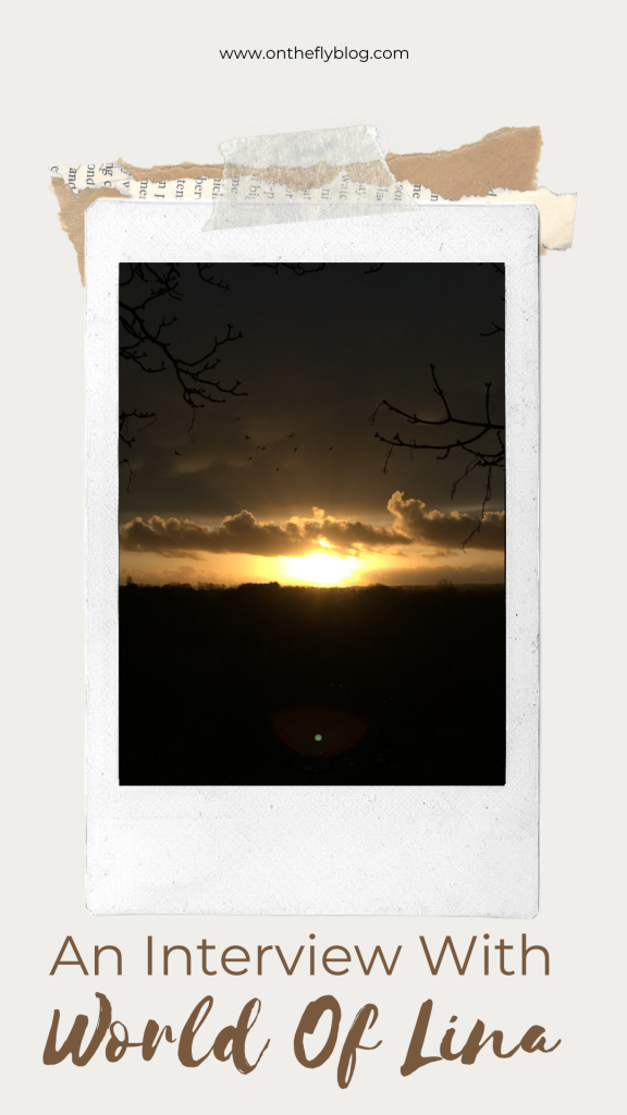 "pin image of a sunset with the title ""an interview with World of Lina"""