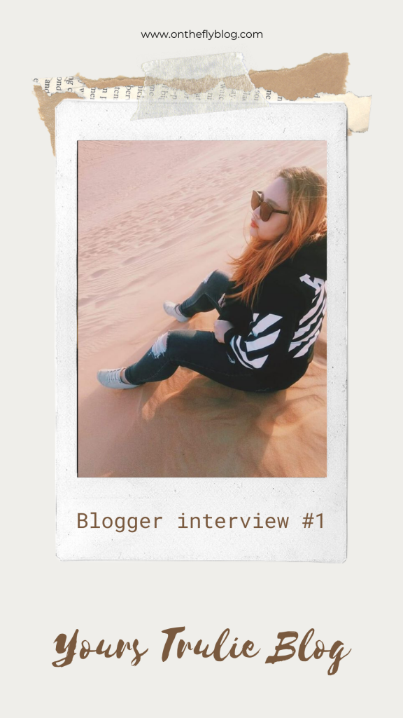 "pin image of a sunset with the title ""blogging interview #1 yours trulie blog"""