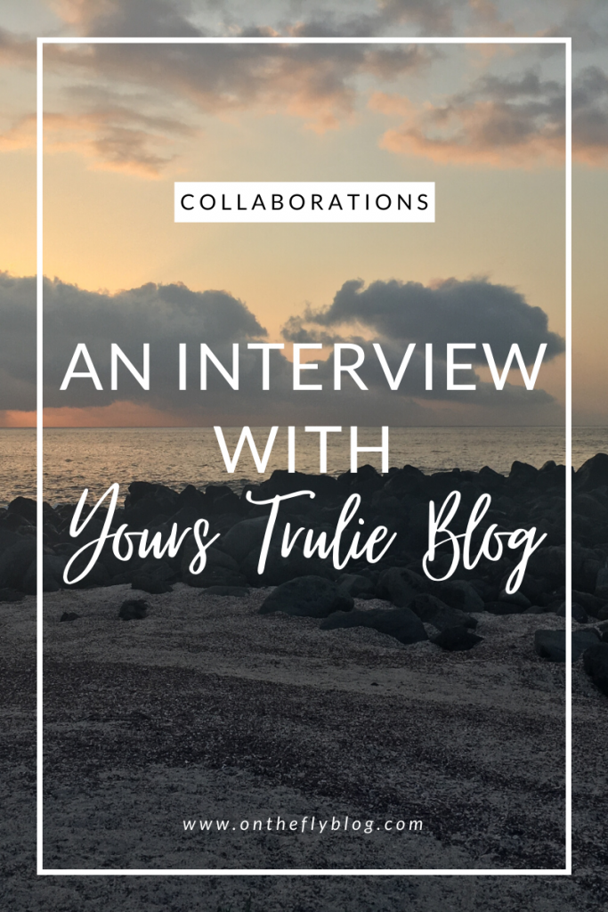 "pin image of a sunset with the title ""an interview with yours trulie blog"""